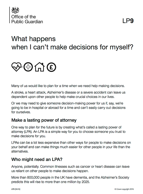 Front page of 'What happens when I can't make decisions for myself?' leaflet