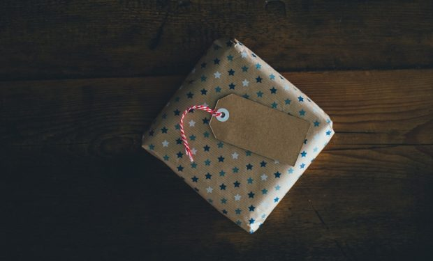 Gift in wrapping paper with a tag